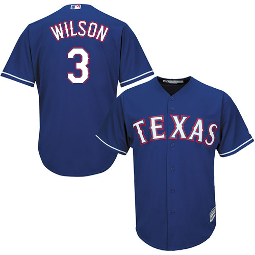 Rangers #3 Russell Wilson Blue Cool Base Stitched Youth Baseball Jersey