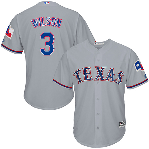 Rangers #3 Russell Wilson Grey Cool Base Stitched Youth Baseball Jersey