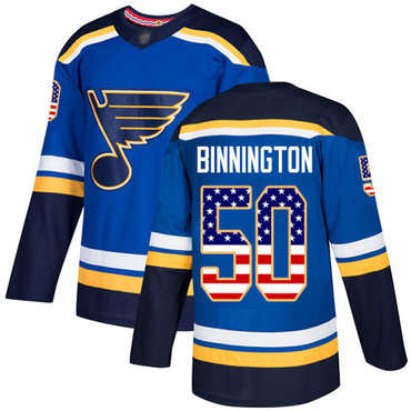 Blues #50 Jordan Binnington Blue Home Authentic USA Flag Stitched Hockey Jersey
