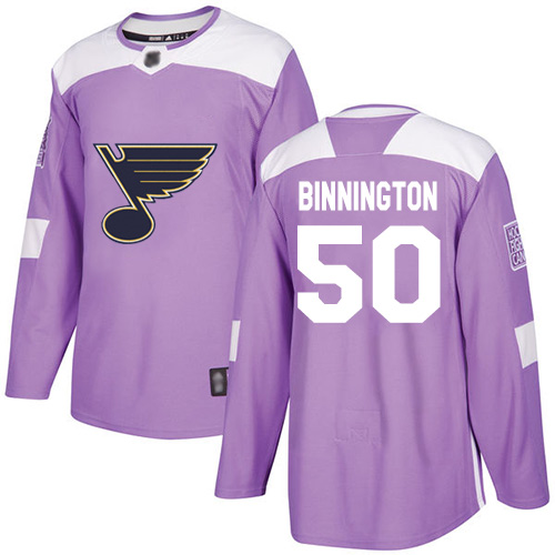 Blues #50 Jordan Binnington Purple Authentic Fights Cancer Stitched Hockey Jersey