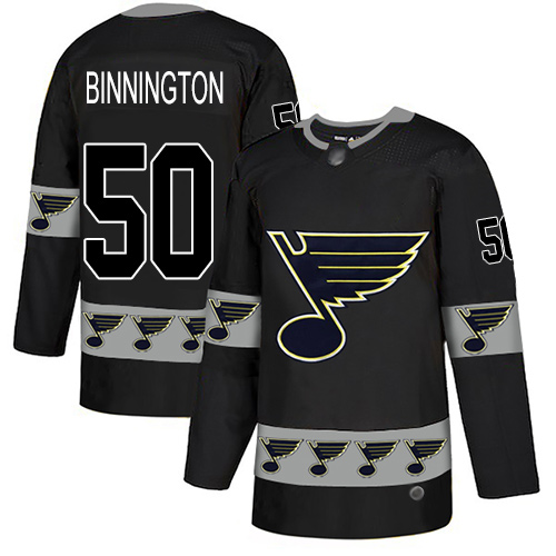 Blues #50 Jordan Binnington Black Authentic Team Logo Fashion Stitched Hockey Jersey