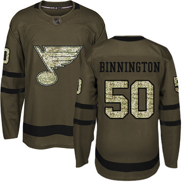 Blues #50 Jordan Binnington Green Salute to Service Stitched Hockey Jersey