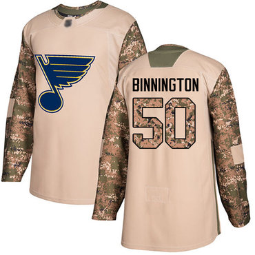 Blues #50 Jordan Binnington Camo Authentic 2017 Veterans Day Stitched Hockey Jersey