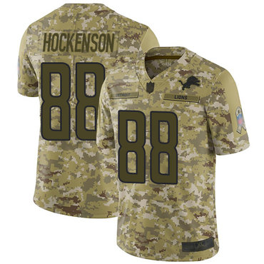 Lions #88 T.J. Hockenson Camo Youth Stitched Football Limited 2018 Salute to Service Jersey