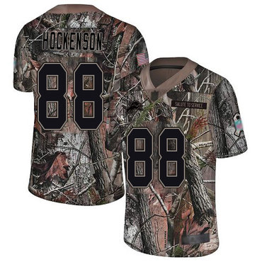 Lions #88 T.J. Hockenson Camo Youth Stitched Football Limited Rush Realtree Jersey