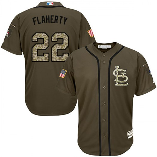 Men's St. Louis Cardinals #22 Jack Flaherty Green Salute to Service Jersey