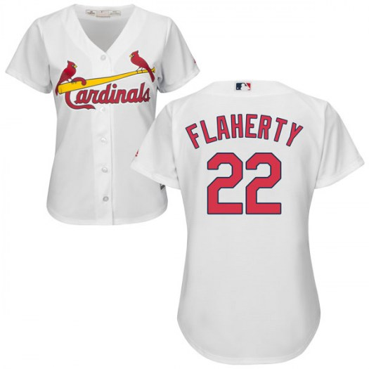 Women's St. Louis Cardinals #22 Jack Flaherty Authentic White Cool Base Home Jersey