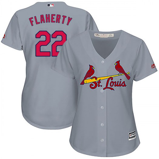 Women's St. Louis Cardinals #22 Jack Flaherty Authentic Gray Cool Base Road Jersey