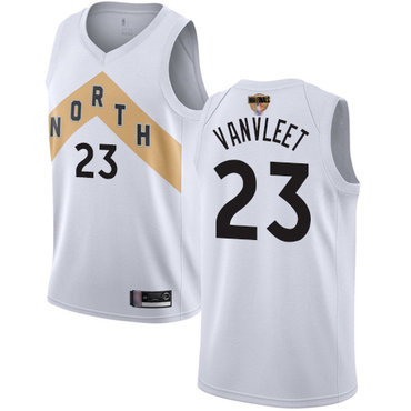 Raptors #23 Fred VanVleet White 2019 Finals Bound Basketball Swingman City Edition 2018-19 Jersey