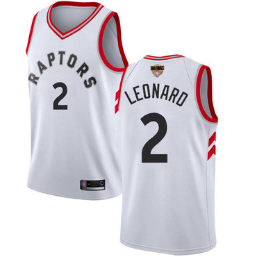 Raptors #2 Kawhi Leonard White 2019 Finals Bound Basketball Swingman Association Edition Jersey