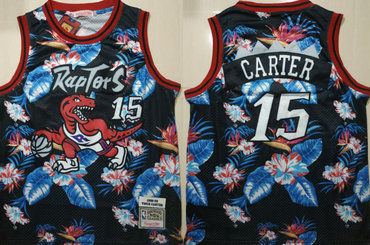 Raptors 15 Vince Carter Black 1998-99 Hardwood Classics Floral Fashion Swingman Jersey