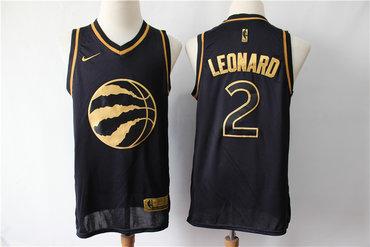 Raptors 2 Kawhi Leonard Black Gold Nike Swingman Jersey