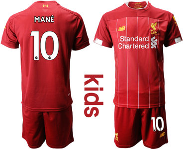 2019-20 Liverpool 10 MANE Youth Home Soccer Jersey