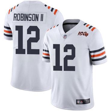 Bears #12 Allen Robinson II White Alternate Men's Stitched Football Vapor Untouchable Limited 100th Season Jersey