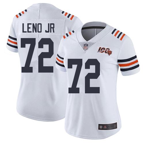 Bears #72 Charles Leno Jr White Alternate Women's Stitched Football Vapor Untouchable Limited 100th Season Jersey