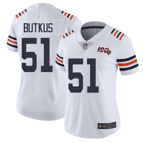 Bears #51 Dick Butkus White Alternate Women's Stitched Football Vapor Untouchable Limited 100th Season Jersey