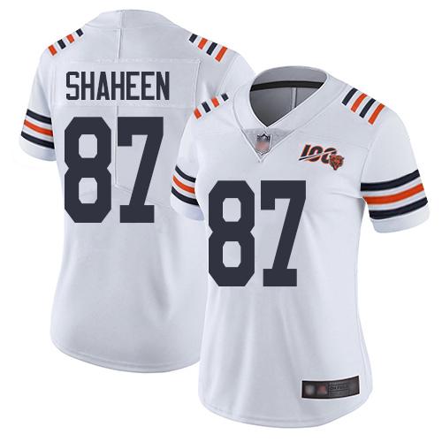 Bears #87 Adam Shaheen White Alternate Women's Stitched Football Vapor Untouchable Limited 100th Season Jersey