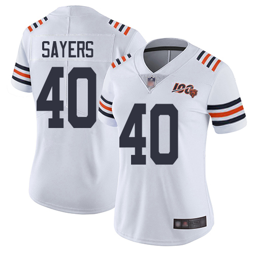 Bears #40 Gale Sayers White Alternate Women's Stitched Football Vapor Untouchable Limited 100th Season Jersey