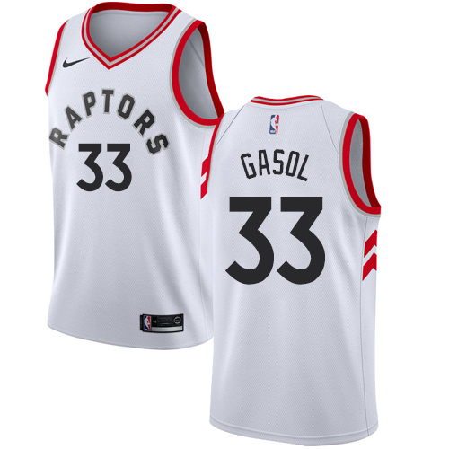 Raptors #33 Marc Gasol White Basketball Swingman Association Edition Jersey