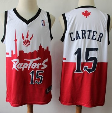 Raptors #15 Vince Carter White Red Basketball Swingman City Edition Jersey