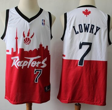 Raptors #7 Kyle Lowry White Red Basketball Swingman City Edition Jersey