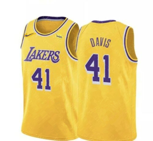 Lakers 41 Anthony Davis Yellow Nike Swingman Jersey