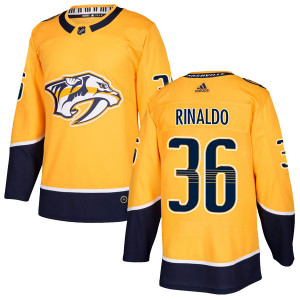 Adidas #36 Zac Rinaldo Nashville Predators Men's Authentic Home Gold Jersey