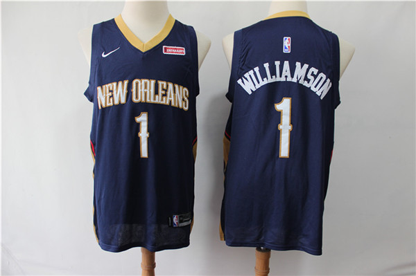 Pelicans 1 Zion Williamson Navy Nike Swingman Jersey