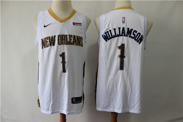 Pelicans 1 Zion Williamson White Nike Swingman Jersey