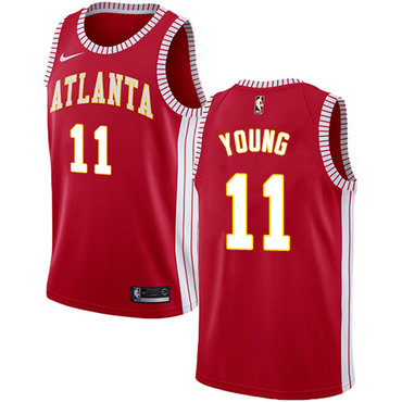 Hawks #11 Trae Young Red Basketball Swingman Statement Edition Jersey