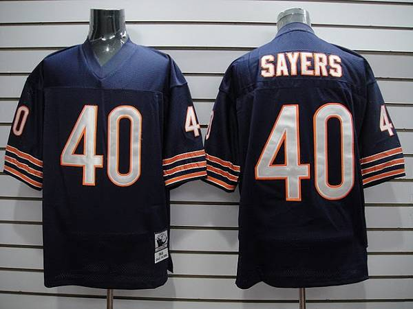 Mitchell & Ness Bears #40 Gale Sayers Blue With Small Number Stitched Throwback Football Jersey