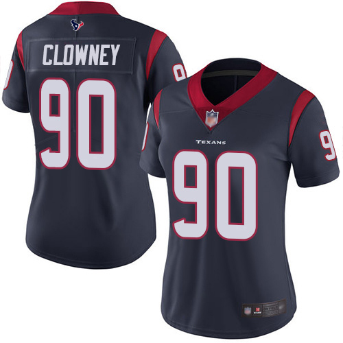 Texans #90 Jadeveon Clowney Navy Blue Team Color Women's Stitched Football Vapor Untouchable Limited Jersey