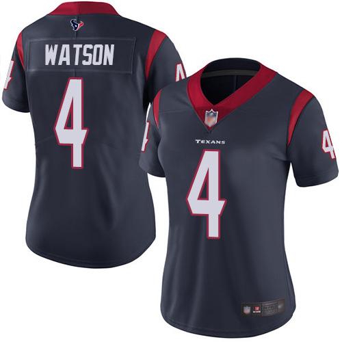 Texans #4 Deshaun Watson Navy Blue Team Color Women's Stitched Football Vapor Untouchable Limited Jersey