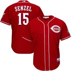 Cincinnati Reds #15 Nick Senzel Men's Replica Majestic Cool Base Alternate Jersey - Red
