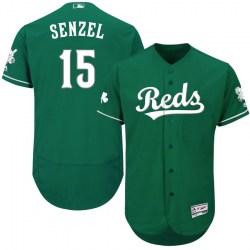 Cincinnati Reds #15 Nick Senzel Men's Authentic Majestic Flex Base Celtic Collection Green Jersey