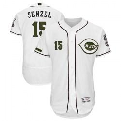 Cincinnati Reds #15 Nick Senzel Men's Authentic Majestic Flex Base Alternate Collection White Jersey
