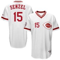 Cincinnati Reds #15 Nick Senzel Men's Replica Majestic Cool Base Turn Back the Clock Team White Jersey