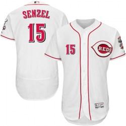 Cincinnati Reds #15 Nick Senzel Men's Authentic Majestic Flex Base Home Collection White Jersey