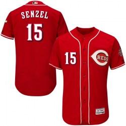 Cincinnati Reds #15 Nick Senzel Men's Authentic Majestic Flex Base Alternate Collection Red Jersey