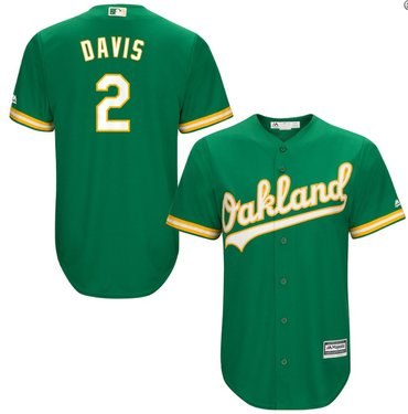 Men's Oakland Athletics 2# Khris Davis Kelly Green Alternate Jersey