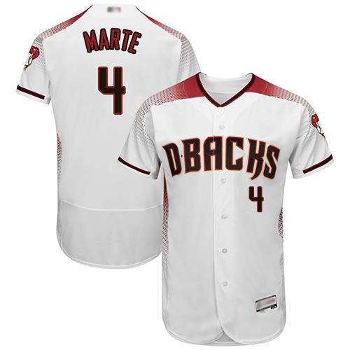 Diamondbacks #4 Ketel Marte White Crimson Flexbase Authentic Collection Stitched Baseball Jersey