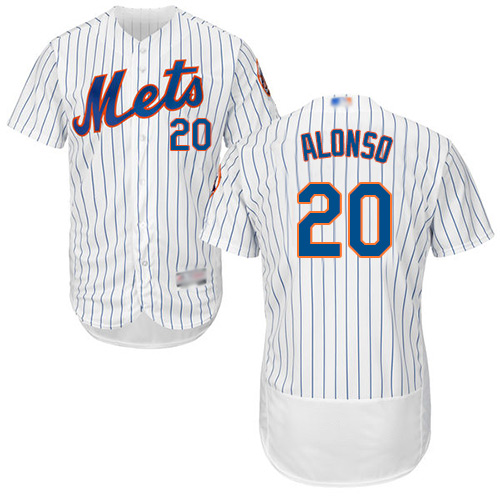 Mets #20 Pete Alonso White(Blue Strip) Flexbase Authentic Collection Stitched Baseball Jersey