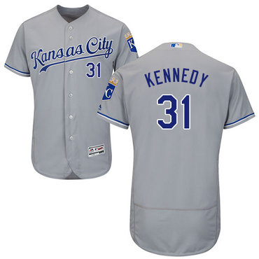 Royals #31 Ian Kennedy Grey Flexbase Authentic Collection Stitched Baseball Jersey