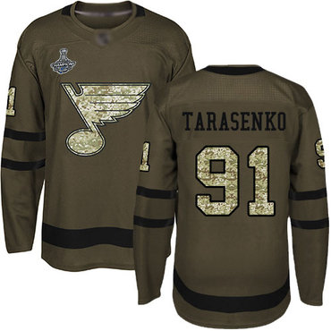Blues #91 Vladimir Tarasenko Green Salute to Service Stanley Cup Champions Stitched Hockey Jersey