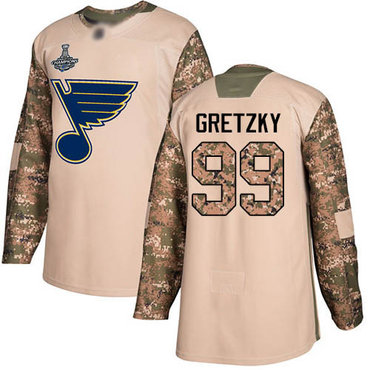 Blues #99 Wayne Gretzky Camo Authentic 2017 Veterans Day Stanley Cup Champions Stitched Hockey Jersey