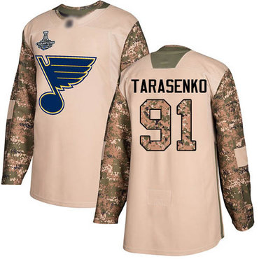 Blues #91 Vladimir Tarasenko Camo Authentic 2017 Veterans Day Stanley Cup Champions Stitched Hockey Jersey
