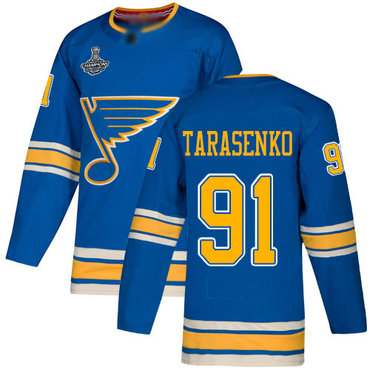 Blues #91 Vladimir Tarasenko Blue Alternate Authentic Stanley Cup Champions Stitched Hockey Jersey