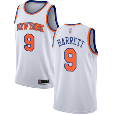 Knicks #9 R.J. Barrett White Basketball Swingman Association Edition Jersey