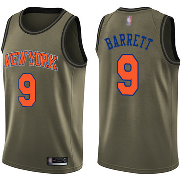 Knicks #9 R.J. Barrett Green Salute to Service Basketball Swingman Jersey