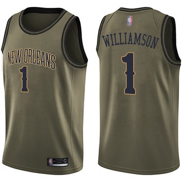Pelicans #1 Zion Williamson Green Basketball Swingman Salute to Service Jersey